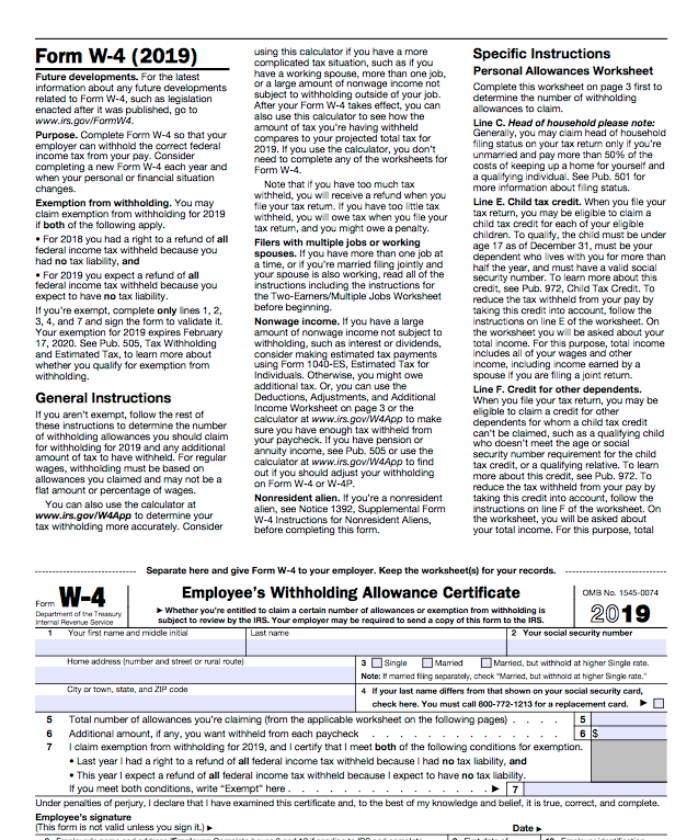 W4: Fill this form out and send to your HR Account Specialist to change your tax exempltions